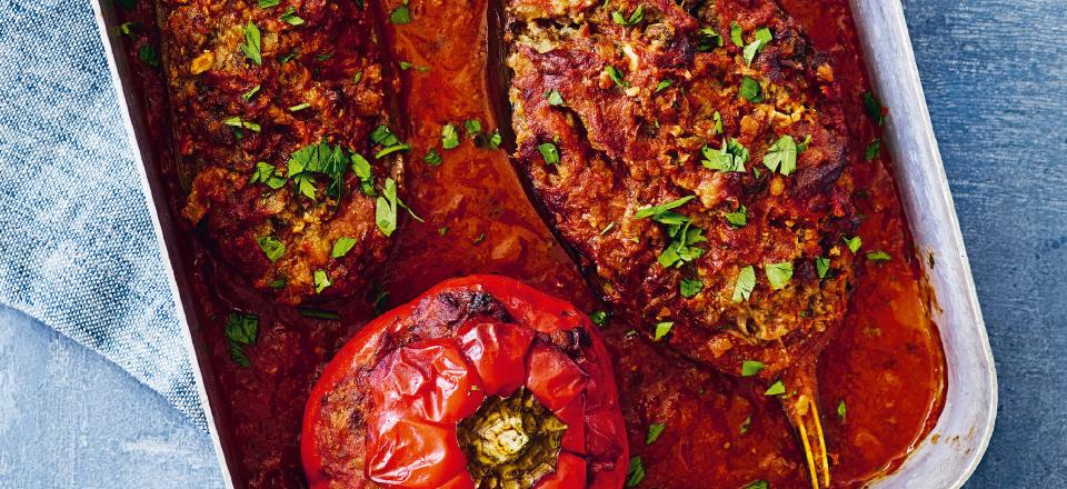 Opskrift på bagte, fyldte grøntsager