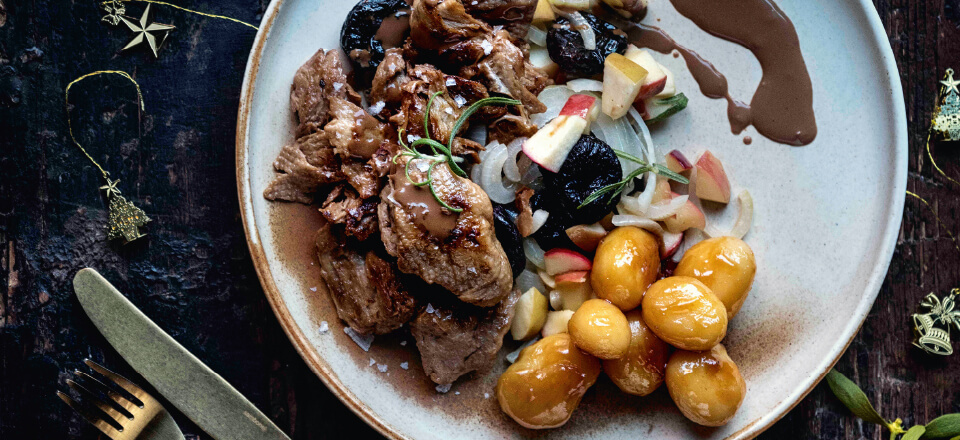 Brunede kartofler og mock duck fra 'Vegansk jul'